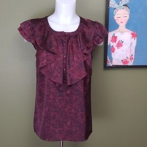 Loft Small Rose flutter sleeve blouse